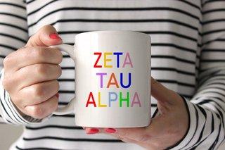 Zeta Tau Alpha Rainbow Coffee Mug