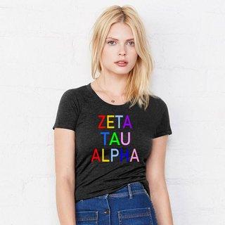 Zeta Tau Alpha Rainbow Triblend Short Sleeve Tee