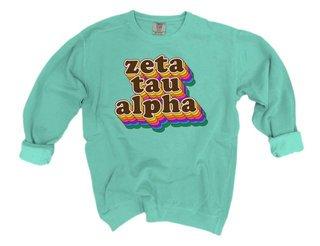 Zeta Tau Alpha Retro Maya Comfort Colors Crewneck Sweatshirt