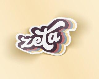 Zeta Tau Alpha Retro Sticker