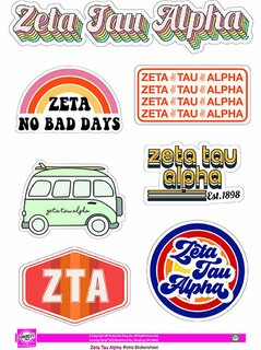 Zeta Tau Alpha Retro Sticker Sheet