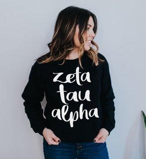 Zeta Tau Alpha Script Crew Sweatshirt
