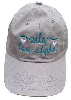 Zeta Tau Alpha Script Hearts Ball Cap