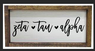 Zeta Tau Alpha Script Wooden Signs