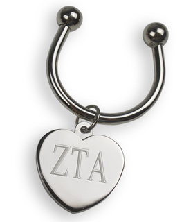 Zeta Tau Alpha Silver Heart Keyring