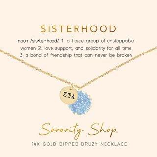 Zeta Tau Alpha Sisterhood Druzy Necklace