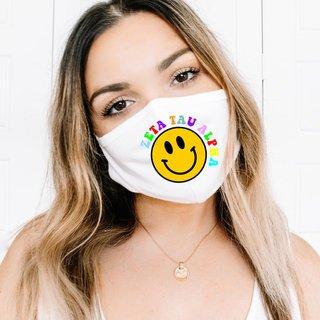 Zeta Tau Alpha Smiley Face Face Mask