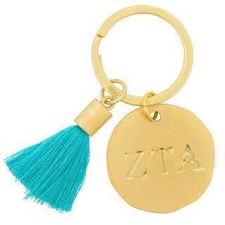 Zeta Tau Alpha Sorority Tassel Gold Key Chain