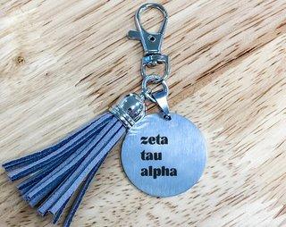 Zeta Tau Alpha Stainless Tassel Keychain