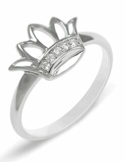 Zeta Tau Alpha Sterling Silver Crown Ring set with Synthetic Diamonds