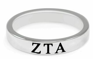 Zeta Tau Alpha Sterling Silver Skinny Band Ring