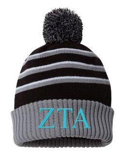 Zeta Tau Alpha Stripe Pom Cuffed Beanie
