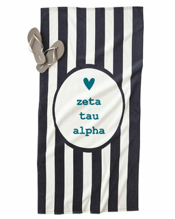 Zeta Tau Alpha Striped Beach Towel
