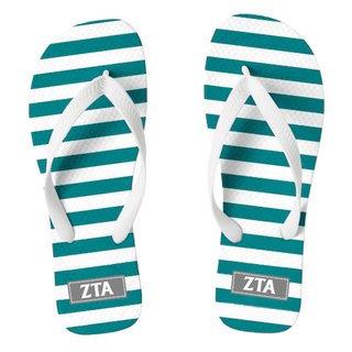 Zeta Tau Alpha Striped Flip Flops