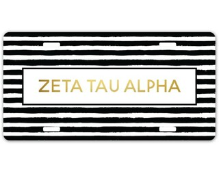 Zeta Tau Alpha Striped Gold License Plate