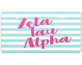 Zeta Tau Alpha Striped License Plate