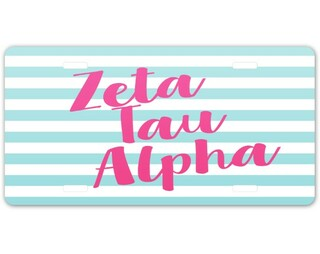 Zeta Tau Alpha Striped License Plate