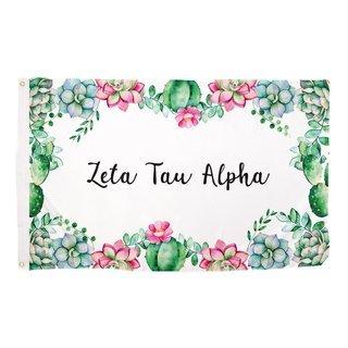 Zeta Tau Alpha Succulent Flag