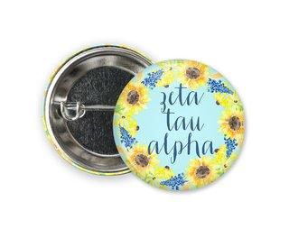 Zeta Tau Alpha Sunflower Button