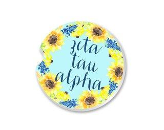 Zeta Tau Alpha Sunflower Car Coaster