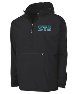Zeta Tau Alpha Tackle Twill Lettered Pack N Go Pullover