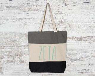 Zeta Tau Alpha Tri Color Tote Bag
