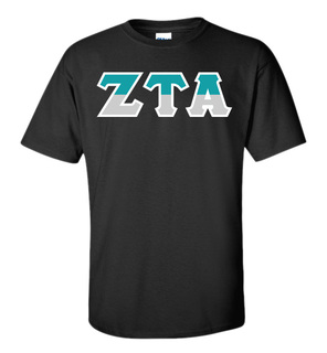 Zeta Tau Alpha Two Tone Greek Lettered T-Shirt