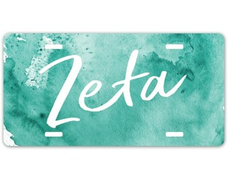 Zeta Tau Alpha Watercolor Script License Plate