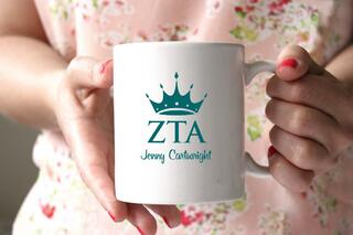 Zeta Tau Alpha White Mascot Coffee Mug