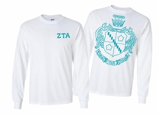 Zeta Tau Alpha World Famous Crest Long Sleeve T-Shirt- MADE FAST!