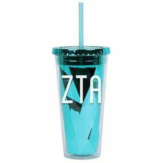 ZETA TAU ALPHA ZTA SORORITY METALLIC TUMBLER