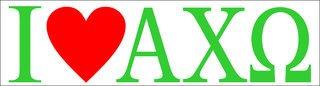 Alpha Chi Omega I Love Bumper Sticker