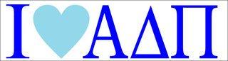 Alpha Delta Pi I Love Bumper Sticker