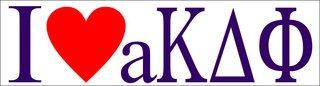 Alpha Kappa Delta Phi I Love Bumper Sticker