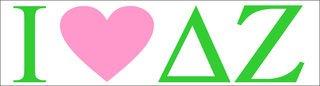 I Love Delta Zeta Bumper Sticker