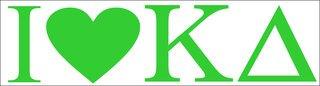 Kappa Delta I Love Bumper Sticker