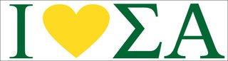 Sigma Alpha I Love Bumper Sticker