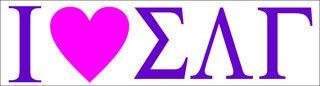Sigma Lambda Gamma I Love Bumper Sticker