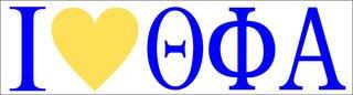 Theta Phi Alpha I Love Bumper Sticker