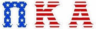 "Pi Kappa Alpha Giant 4"" American Flag Greek Letter Sticker"