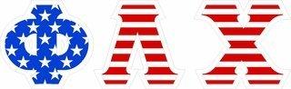 "Phi Lambda Chi Giant 4"" American Flag Greek Letter Sticker"