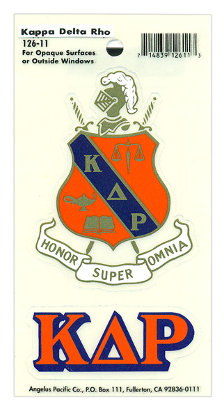 Kappa Delta Rho Crest - Shield Decal