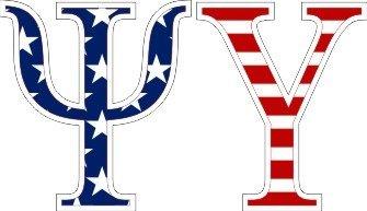 """Psi Upsilon American Flag Greek Letter Sticker - 2.5"""" Tall"""