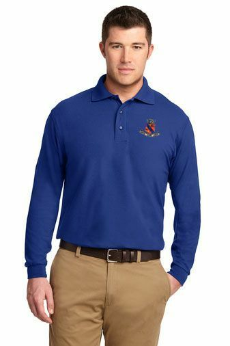 DISCOUNT-Kappa Delta Rho Crest - Shield Emblem Long Sleeve Polo