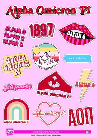Alpha Omicron Pi Girl Power Stickers
