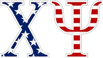 "Chi Psi American Flag Greek Letter Sticker - 2.5"" Tall"