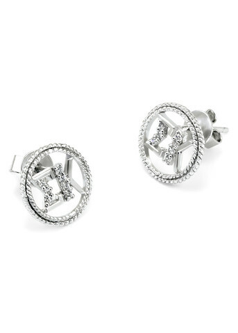 Sigma Kappa Sterling Silver Round Earrings set with Lab-created Diamonds