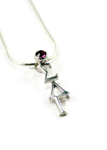 Sigma Lambda Gamma Sterling Silver Lavaliere Pendant with Swarovski™ Amethyst Crystal