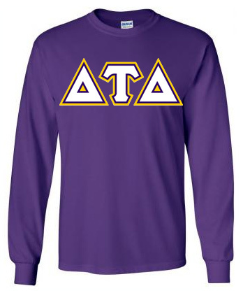 3 Color Greek Lettered Twill Long Sleeve Tee - New!