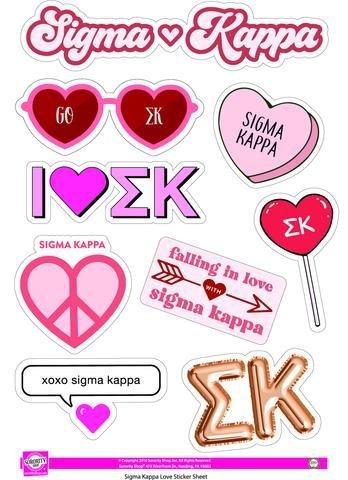 Sigma Kappa Love Theme Stickers